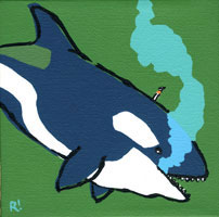 smoking orca painting